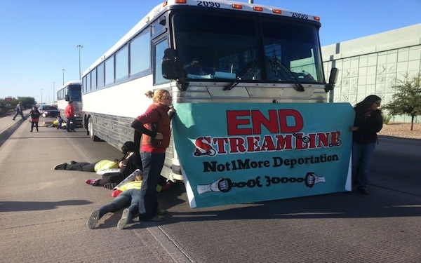 Below, amnesty pests chained themselves to deportation buses in Tucson, October 11. Operation Streamline has been one of the most effective enforcement programs.