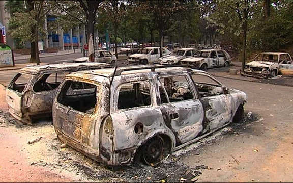 French voters may favor less Muslim immigration after years of street violence (even in small towns) like the Grenoble car-burning shown below.