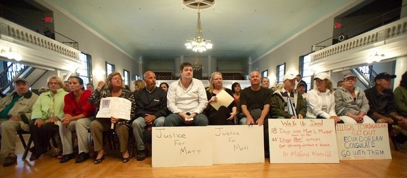 The family of Matthew Denice and supporters filled a hall in Milford to protest the non-enforcement of immigration laws.
