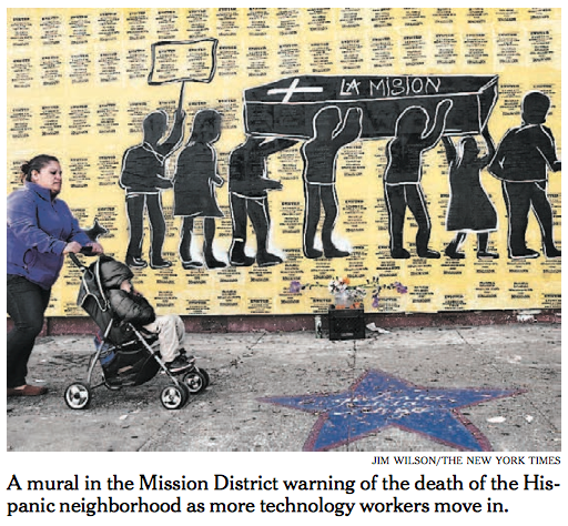 The Times' front-page photo focused on the largely Hispanic Mission district, where housing costs are going up.