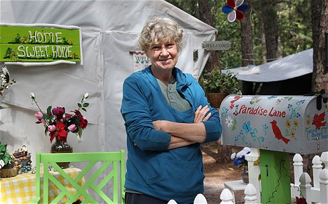 Pictured is Marilyn Berenzweig living in a New Jersey tent city, a far cry from her formerly middle-class lifestyle.
