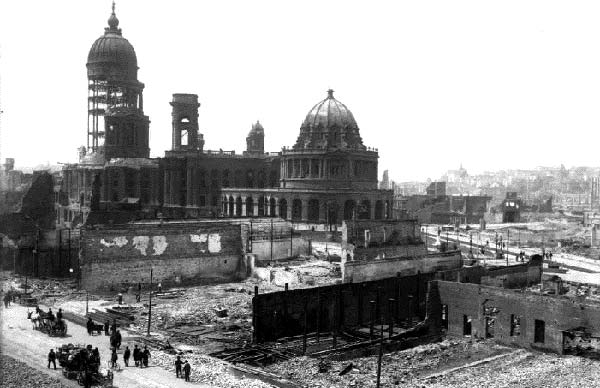 the 1906 San Francisco earthquake and fire destroyed the city's hall of records