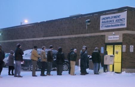 unemployment line snow