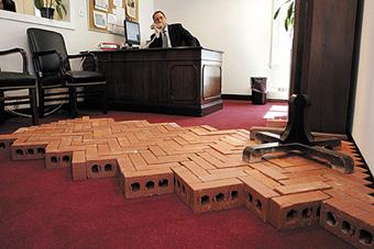 Bricks in Sen Martinez' office