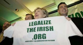Hilary Clinton and Irish Illegal Alien Boosters