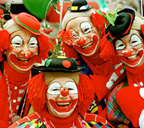 Clowns in red outfits