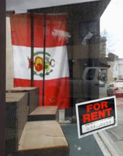 Hazelton store for rent with Peruvian flag