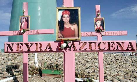 Crosses in Juarez for the murdered women