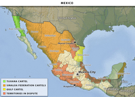 Mexico drug cartels map