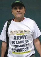 Normandy T-shirt at anti-New York Times rally