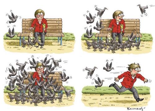 CartoonMerkelFeedingBirdsRefugees