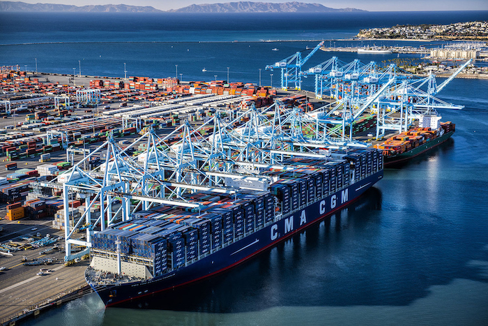 The largest container ship to visit a North American port, the CMA CGM Benjamin Franklin, arrived at the Port of Los Angeles on Saturday  morning, December 26th.  The ship will leave for Oakland on Wednesday.