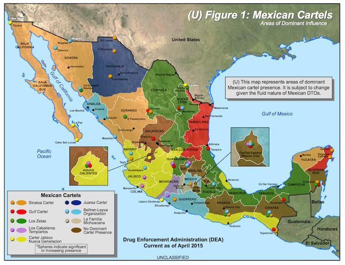 MexicoMapCartelsDEA2015